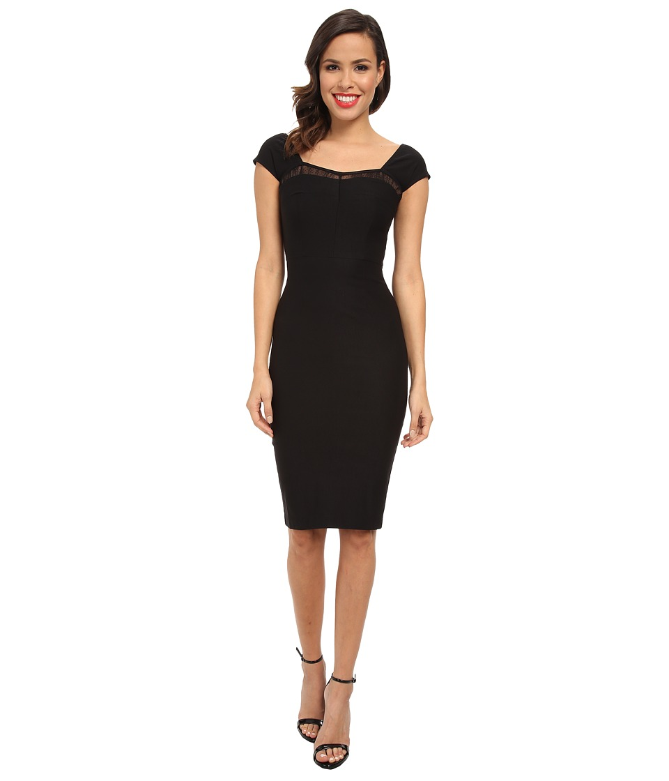 Stop Staring! - Straight Dress with Lace Detail At Top (Black) Women's Dress