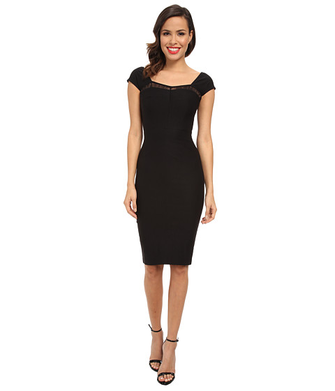 Stop Staring! - Straight Dress with Lace Detail At Top (Black) Women