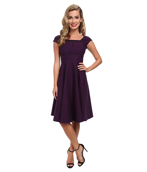 Stop Staring! - Swing Dress with Lace Detail At Top (Egg Plant) Women's Dress