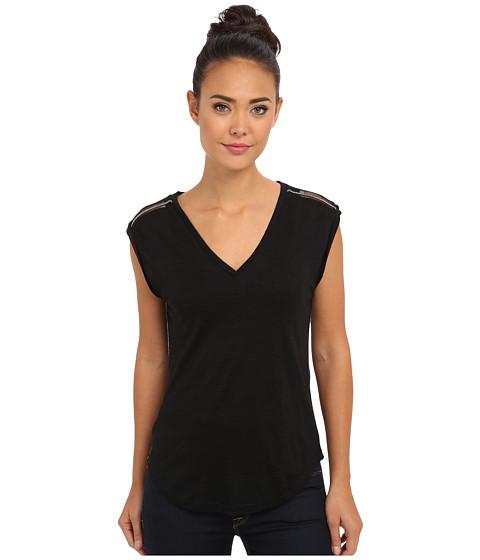 Sam Edelman - Rolled Sleeve V-Neck w/ Shoulder Trim (Black) Women