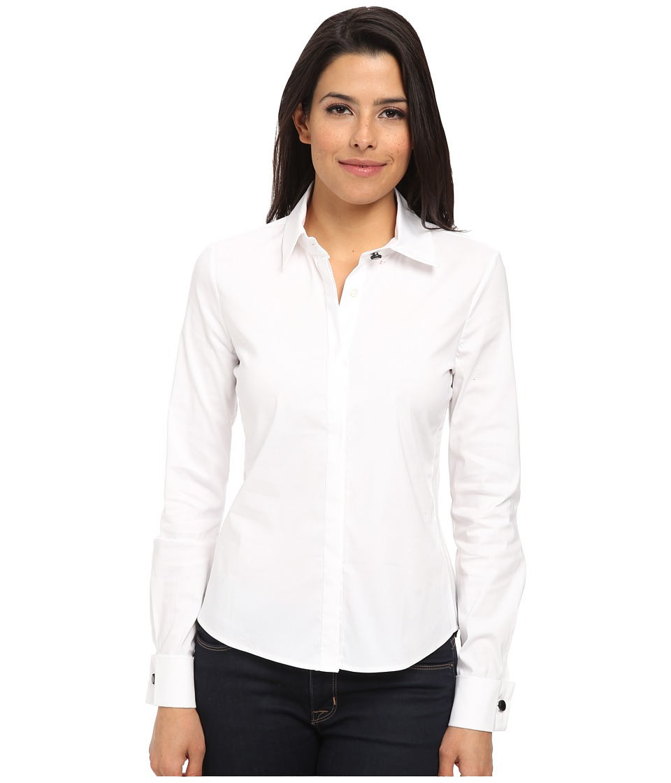 Sam Edelman - Stretch Poplin w/ Sheer Detail (White) Women's Long Sleeve Button Up