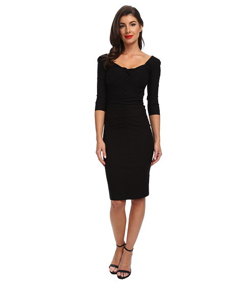 Stop Staring! - 3/4 Sleeve Shirred Front Dress (Black) Women's Dress