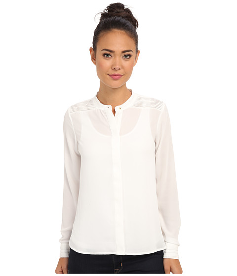 Sam Edelman - Crepe Chiffon Pleated Blouse (Ivory) Women's Blouse
