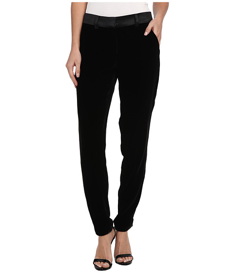 Sam Edelman - Silk Velvet Pant w/ Satin WB (Black) Women