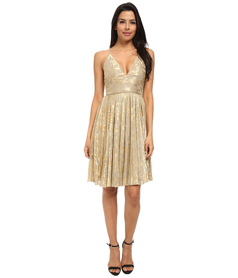 Sam Edelman - V-Neck Pleated Bottom Dress (Gold) Women's Dress