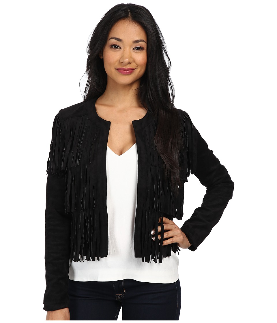 Sam Edelman - Faux Suede Fringe Jacket (Black) Women's Coat