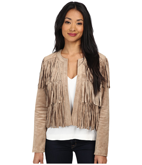 Sam Edelman - Faux Suede Fringe Jacket (Tan) Women's Coat