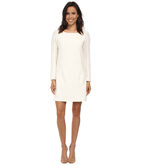 Laundry by Shelli Segal - Ponte Sheath w/ Cable Knit Sleeves (Warm White) Women's Dress