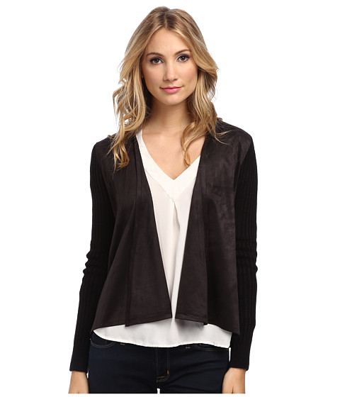 Sam Edelman - Faux Suede Ribbed Cardigan (Black) Women's Sweater