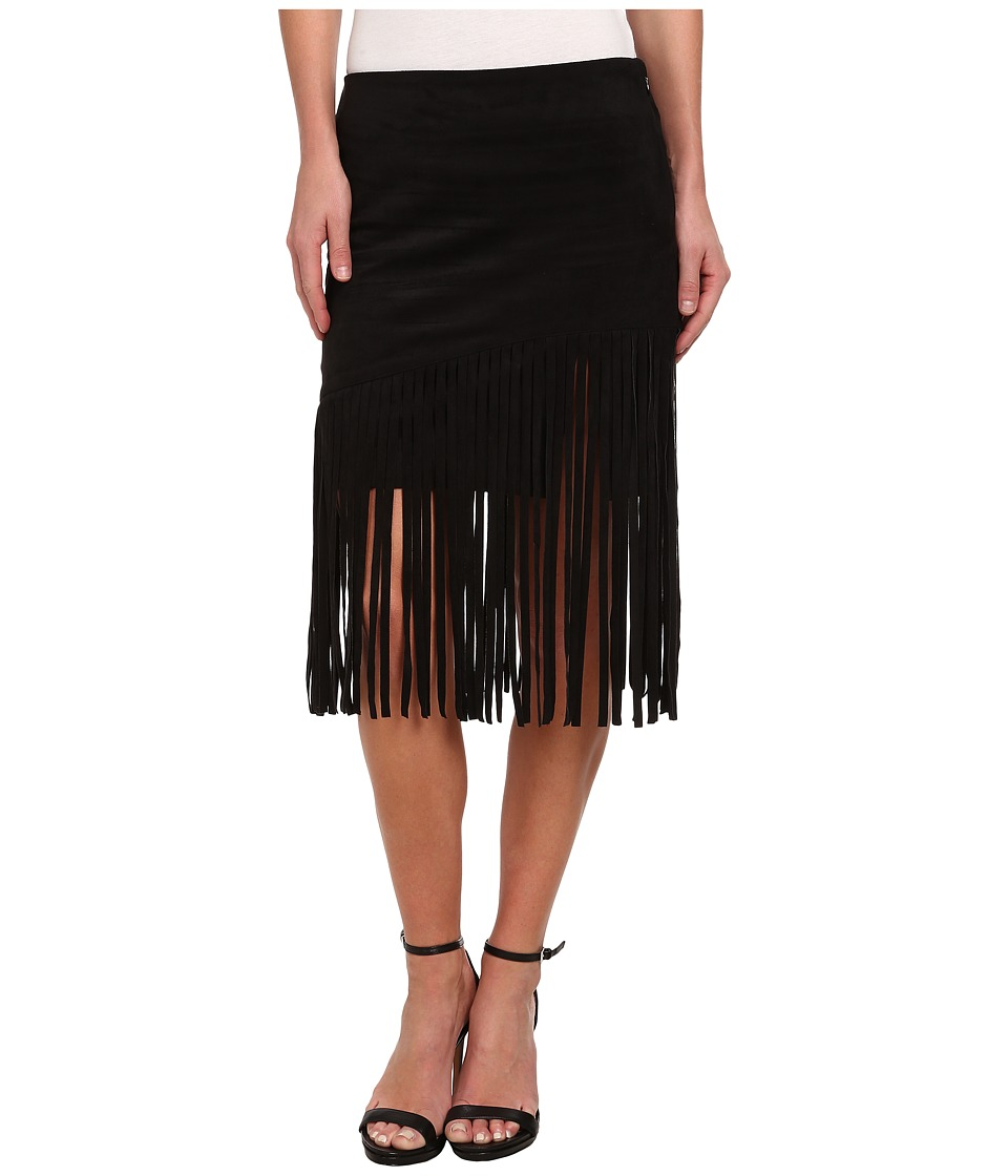 Sam Edelman - Faux Suede Fringe Skirt (Black) Women's Skirt plus size,  plus size fashion plus size appare