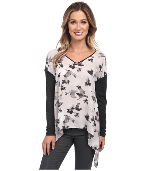 kensie - Painted Birds Top (Dusty Grey) Women's Long Sleeve Pullover