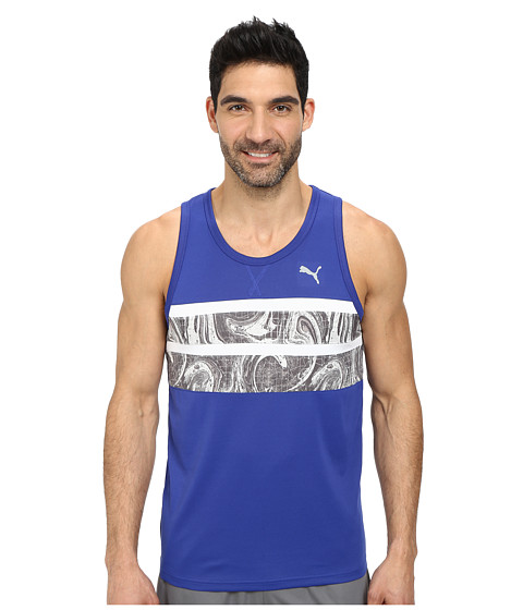 PUMA - Mixed Statement Tank (Clematis Blue/Turbulence Print) Men's Sleeveless