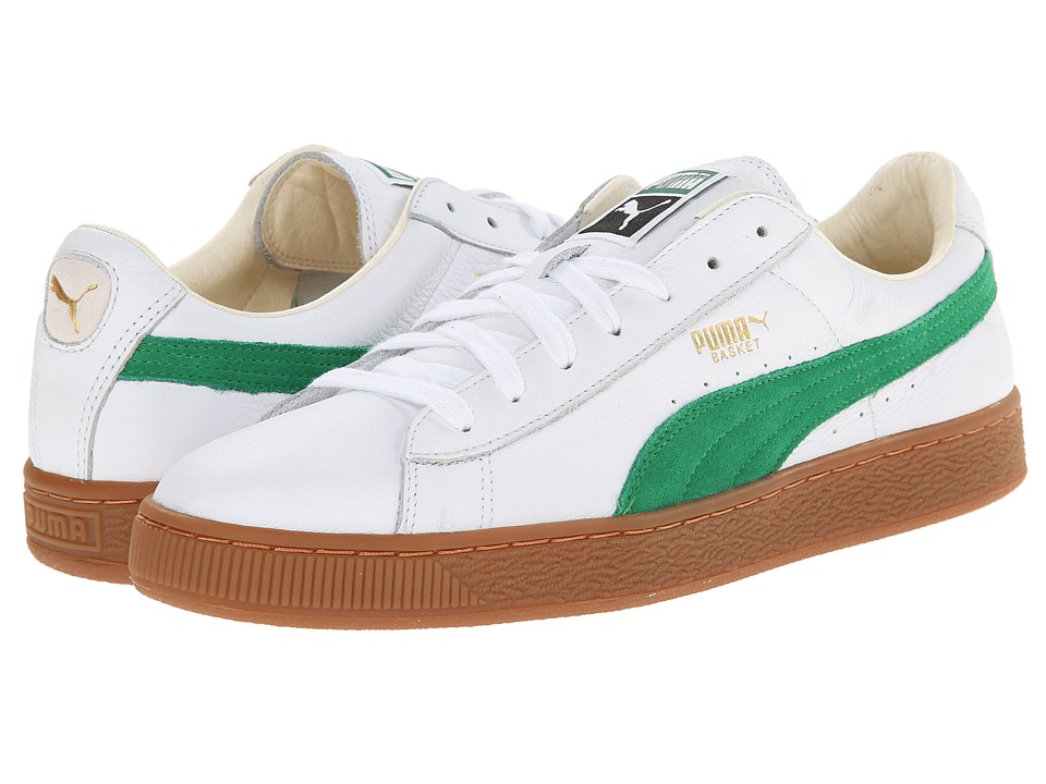 PUMA - Basket Classic (White/Fern Green) Athletic Shoes