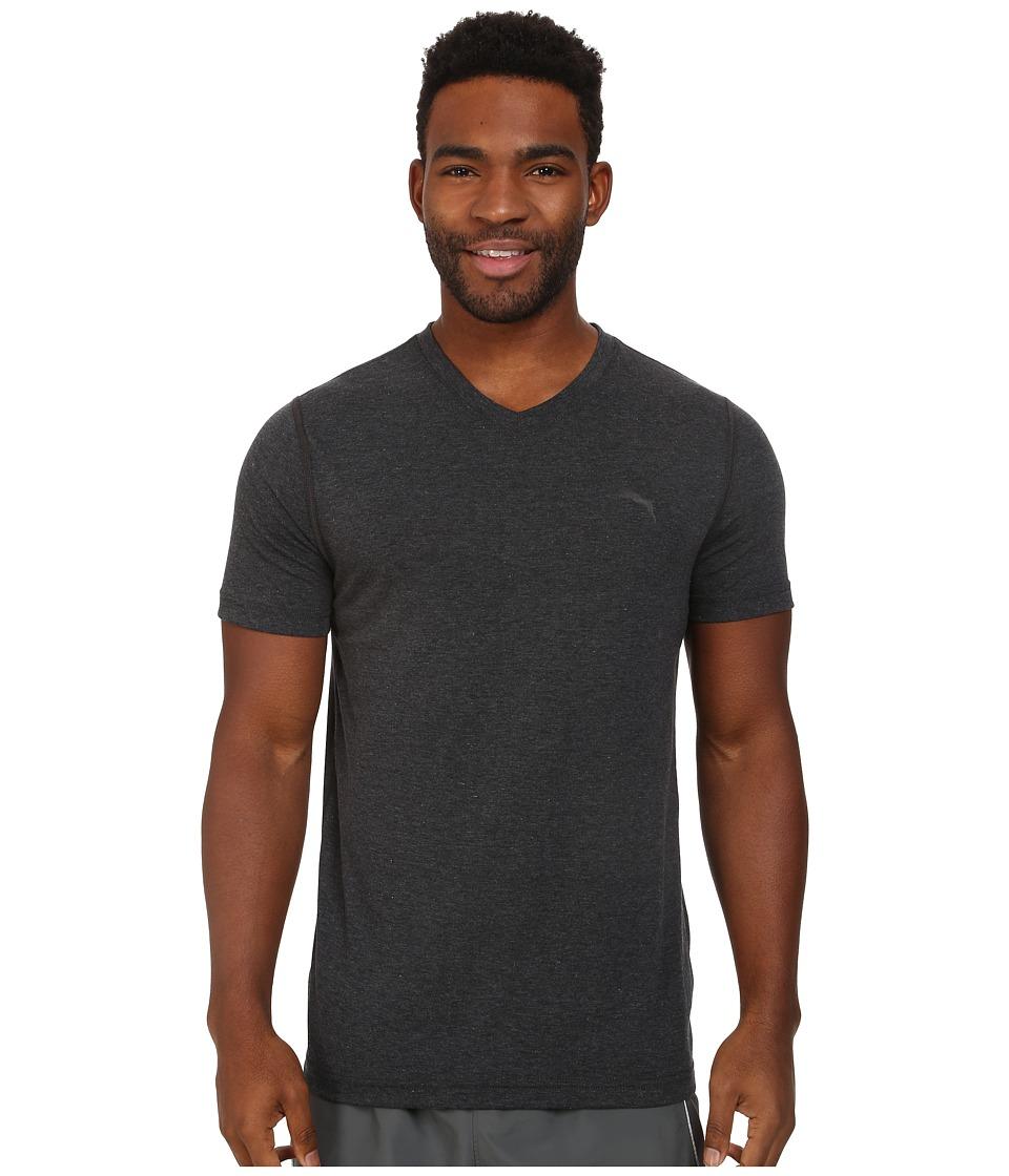 PUMA Essential S/S V-Neck (Dark Gray) Men