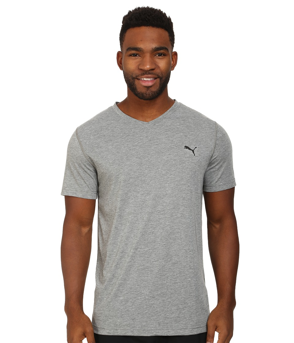 PUMA - Essential S/S V-Neck (Medium Gray Heather) Men's Short Sleeve Pullover