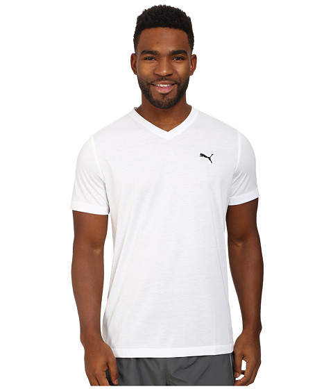 PUMA - Essential S/S V-Neck (White/Black) Men's Short Sleeve Pullover