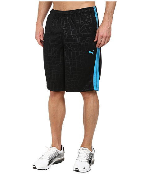 PUMA - 10 Formstripe Pattern Short (Black/Hawaiian Ocean) Men's Shorts