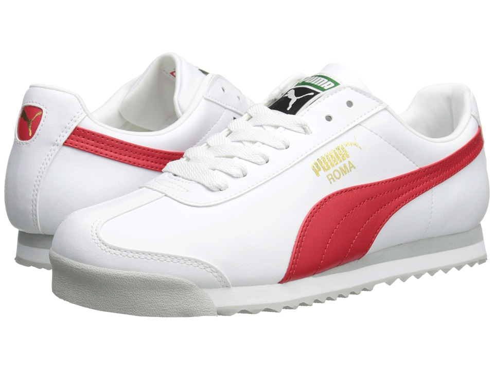 PUMA - Roma Basic (White/High Risk Red) Men's Shoes