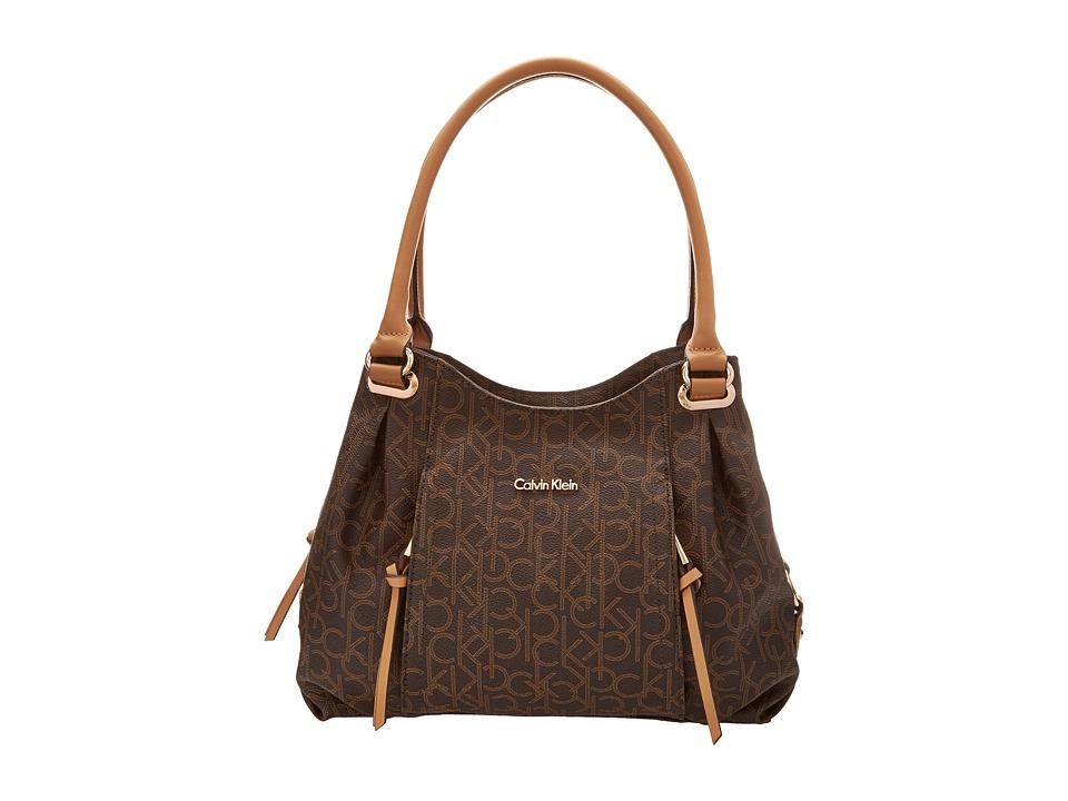 Calvin Klein - Monogram Shopper (Brown/Khaki/Camel) Handbags
