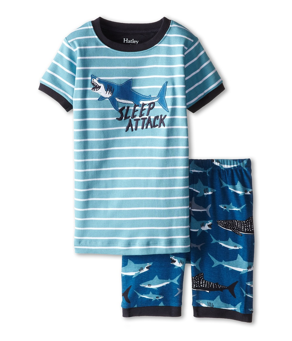 Hatley Kids - Lots of Sharks Sleep Attack Short PJ Set (Toddler/Little Kids/Big Kids) (Blue) Boy's Pajama Sets