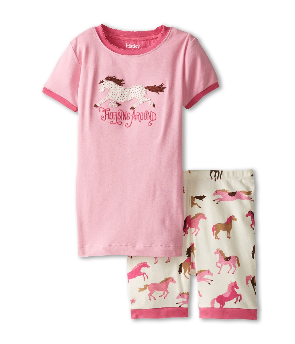 Hatley Kids - Hearts Horses Horsing Around Short PJ Set (Toddler/Little Kids/Big Kids) (Pink) Girl's Pajama Sets