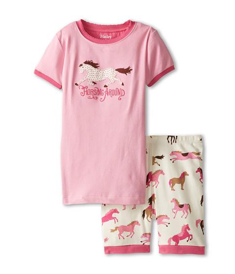 Hatley Kids - Hearts Horses Horsing Around Short PJ Set (Toddler/Little Kids/Big Kids) (Pink) Girl