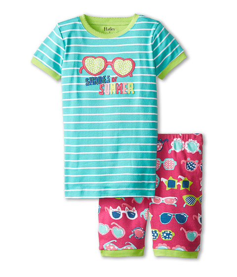 Hatley Kids - Cool Sunglasses Shades of Summer Short PJ Set (Toddler/Little Kids/Big Kids) (Aqua) Girl's Pajama Sets