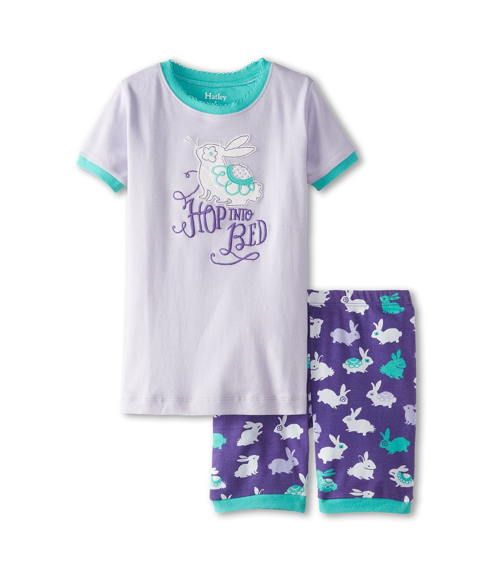 Hatley Kids - Fluffy Bunnies Hop Into Bed Short PJ Set (Toddler/Little Kids/Big Kids) (Purple) Girl's Pajama Sets