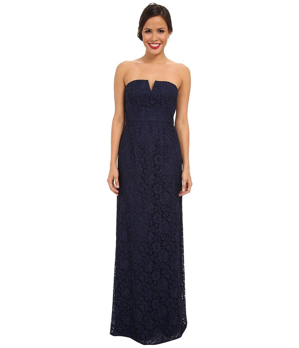 Donna Morgan - Strapless Lace Long Gown (Indigo) Women's Dress