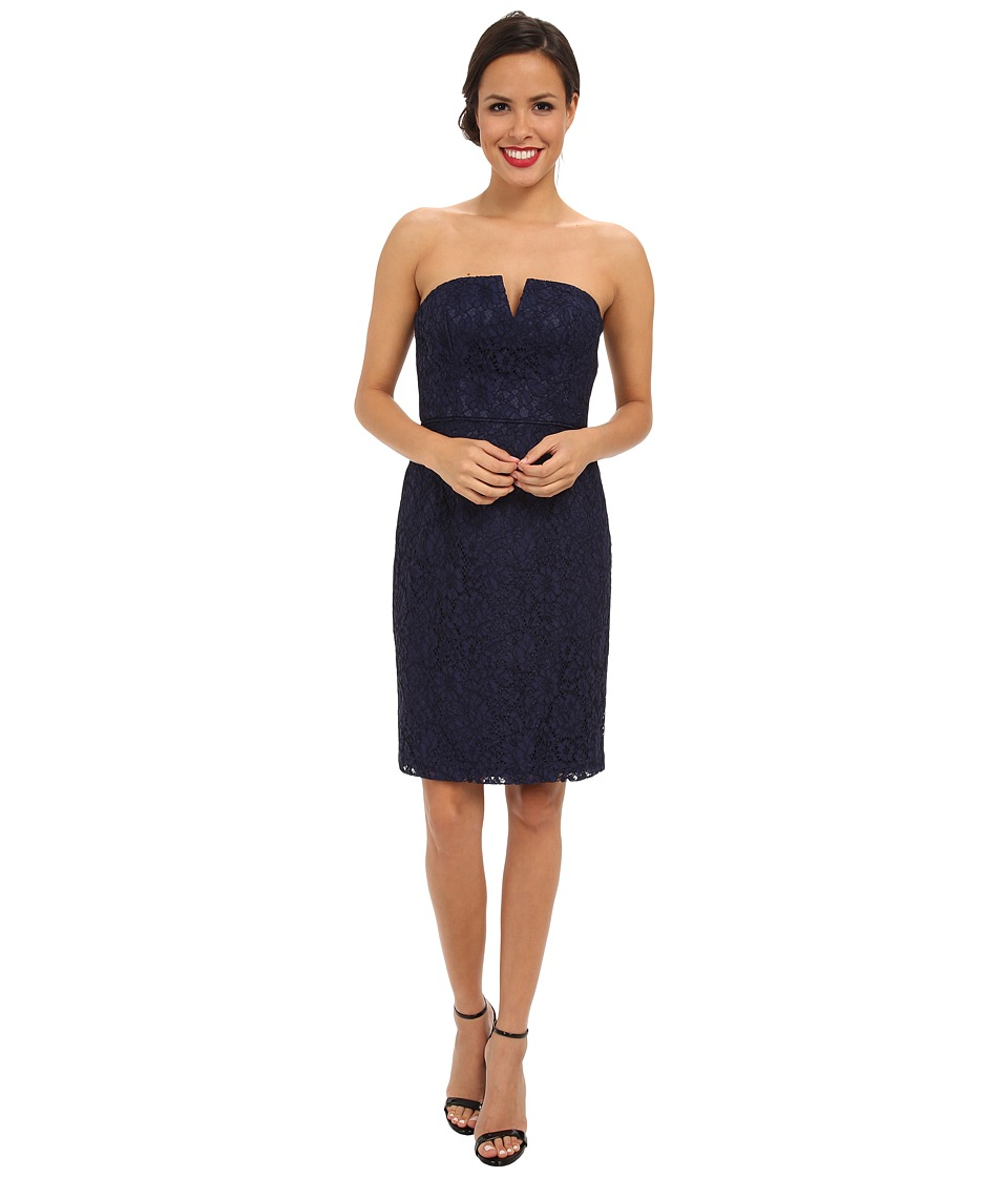 Donna Morgan - Strapless Lace Short Dress (Indigo) Women's Dress