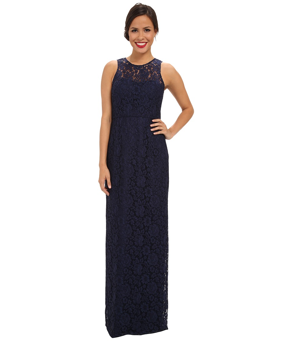 Donna Morgan Illusion Neck Lace Long Gown Indigo Dress