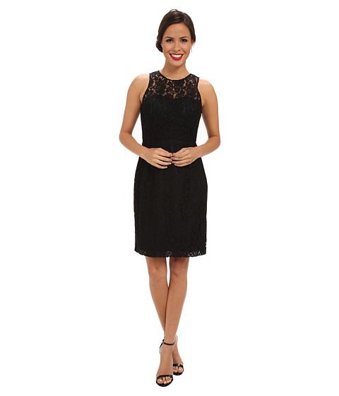 Donna Morgan - Illusion Neck Lace Short Dress (Black) Women's Dress