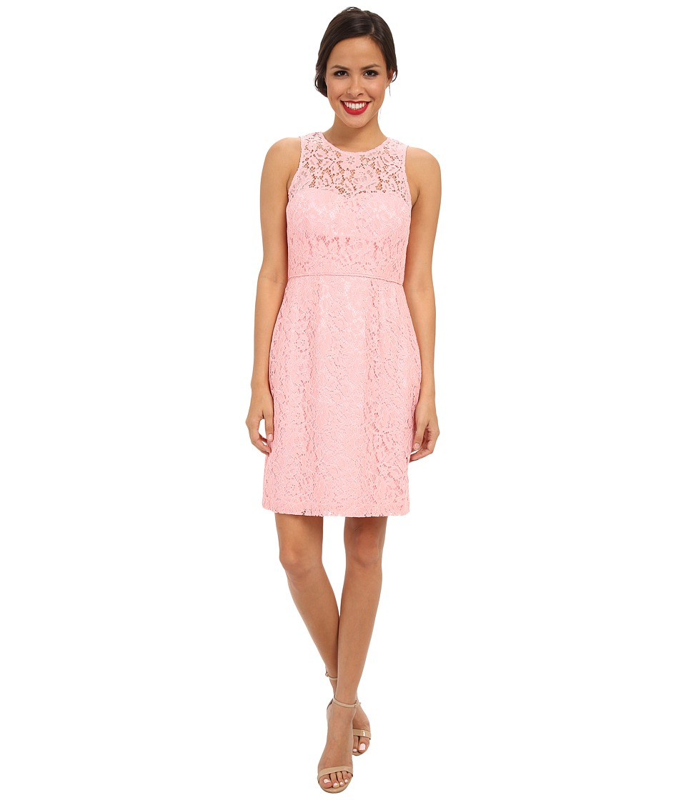 Donna Morgan - Illusion Neck Lace Short Dress (Cherry Blossom) Women's Dress