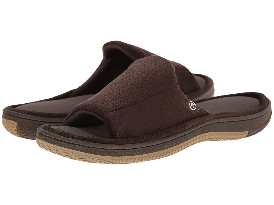 ISOTONER Signature - Perfed Microsuede Slide (Brown) Men's Slippers
