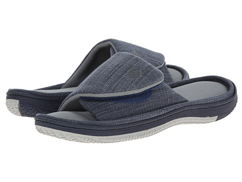 ISOTONER Signature - Canvas Open Toe w/ Strap (Navy) Men's Slippers