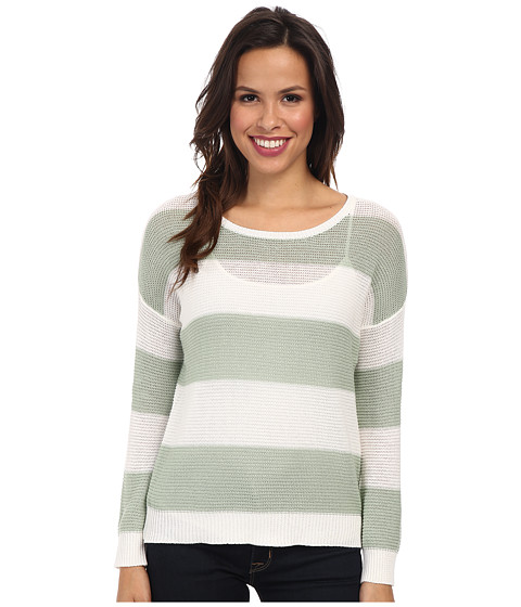 Olive & Oak - Stripe Pullover (White Linen/Frosted Pine) Women's Sweater