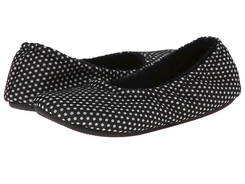 ISOTONER Signature - Ava Polka Dot Ballerina (Black) Women's Slippers