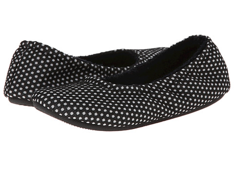 ISOTONER Signature - Ava Polka Dot Ballerina (Black) Women's Slippers