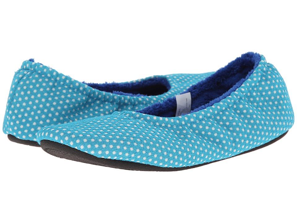 ISOTONER Signature - Ava Polka Dot Ballerina (Tech Turquoise) Women's Slippers
