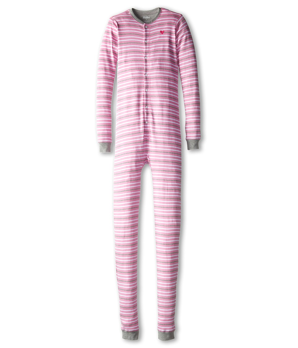 Hatley Kids - Heart Stripes Union Suit (Toddler/Little Kids/Big Kids) (Pink) Girl's Jumpsuit & Rompers One Piece