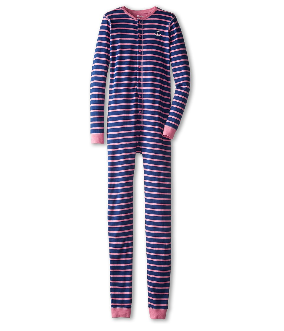 Hatley Kids - Anchor Stripes Union Suit (Toddler/Little Kids/Big Kids) (Pink) Girl's Jumpsuit & Rompers One Piece