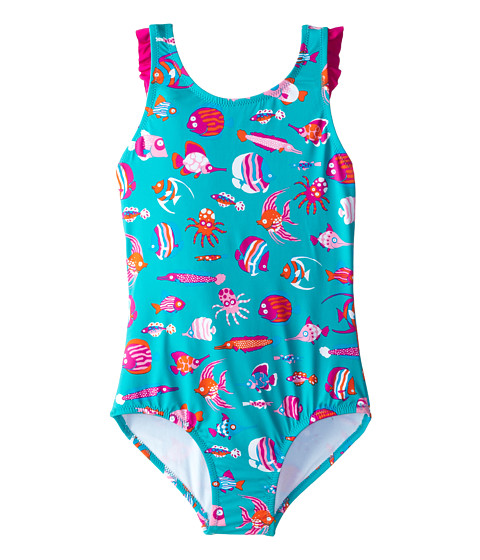 Hatley Kids - Fun Fish Ruffle Swimsuit (Toddler/Little Kids/Big Kids) (Aqua) Boy's Swimsuits One Piece