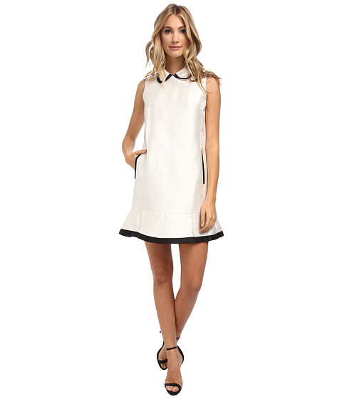 Ivy & Blu Maggy Boutique - Sleeveless Oversized Collar Shift Dress (Ivory/Black) Women