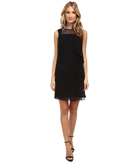 Ivy & Blu Maggy Boutique - Sleeveless Solid Draped Shift Dress w/ Mesh (Black) Women