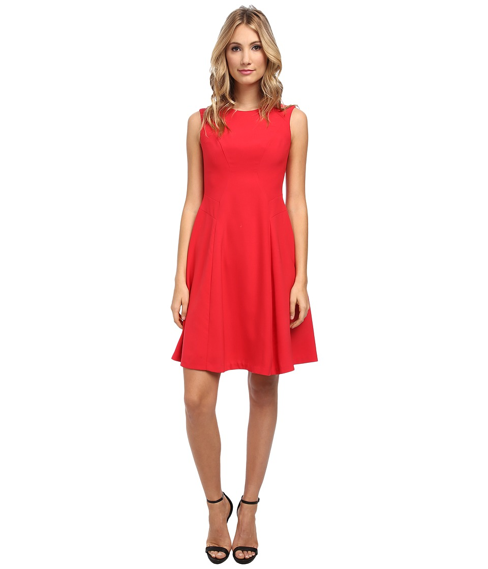 Ivy & Blu Maggy Boutique - Sleeveless Solid Midi Length Fit and Flare Dress (Strawberry) Women's Dress