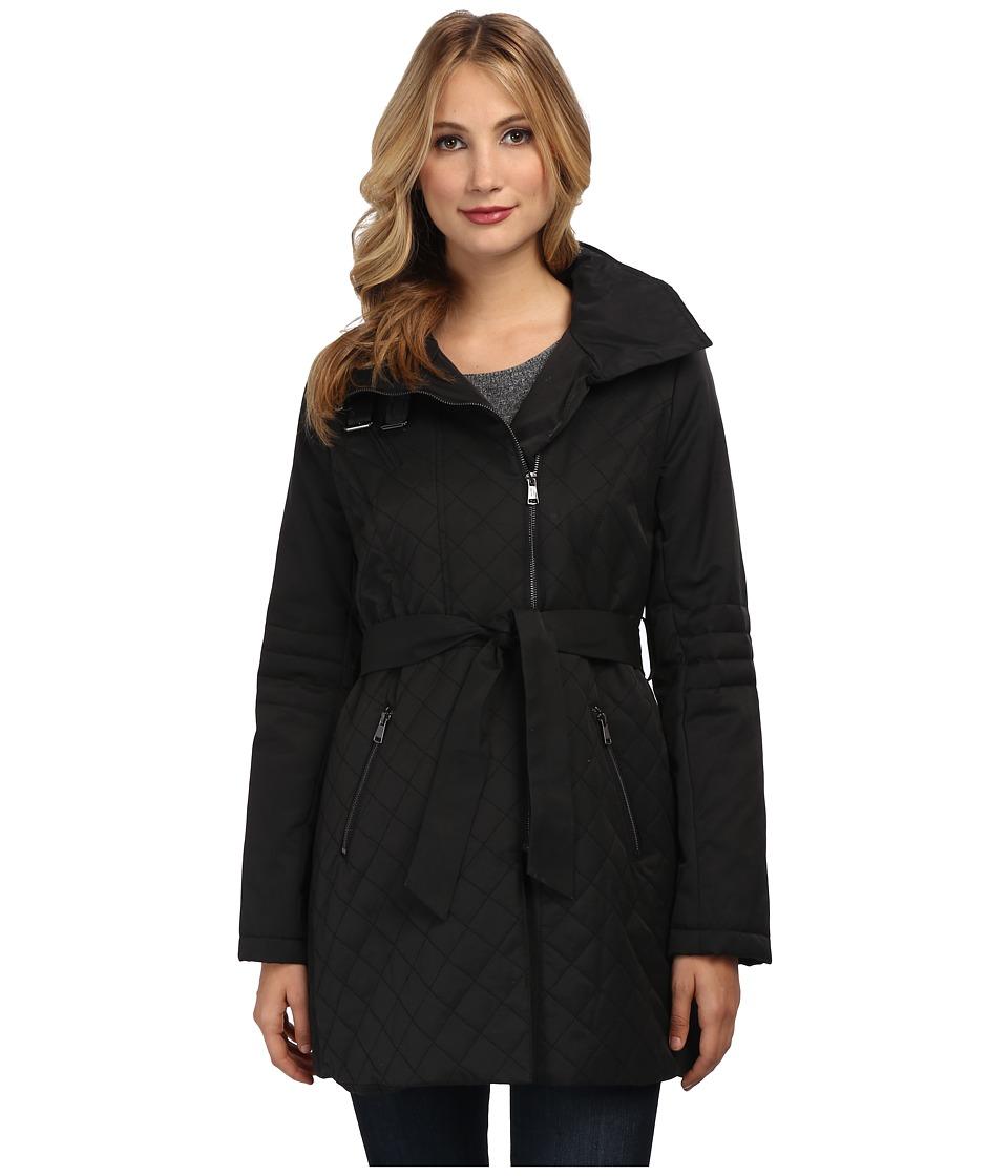 French Connection - Cutaway Rain w/ Stand Collar Coat (Black) Women