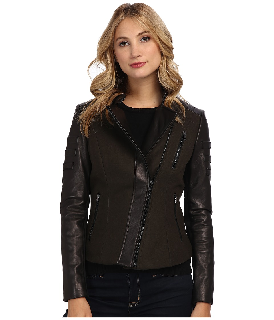 French Connection - Mixed Media Peplum Leather Coat (Black) Women's Coat