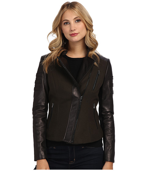 French Connection - Mixed Media Peplum Leather Coat (Black) Women