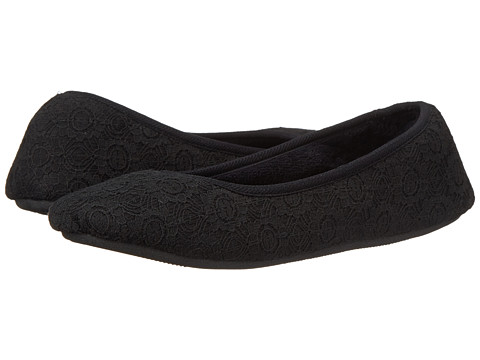 ISOTONER Signature - Sofia Lace Ballerina (Black) Women's Slippers