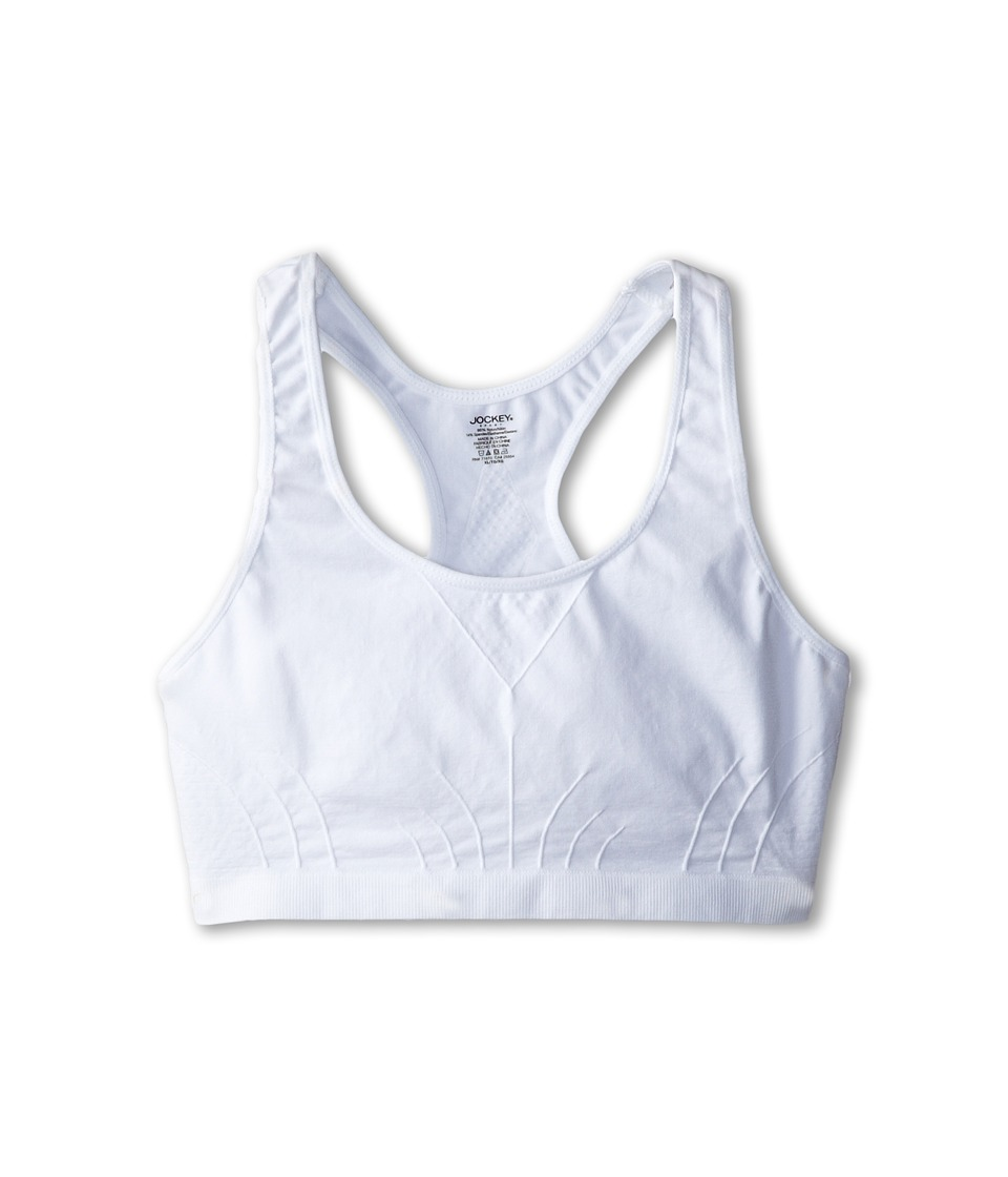 Jockey Kids - Racerback Performance/Moisture-Wicking Crop Top (Big Kids) (White) Girl's Bra